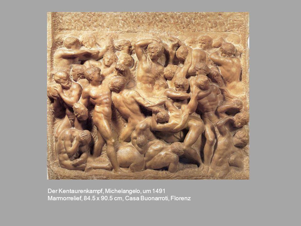 Der Kentaurenkampf, Michelangelo, um 1491 Marmorrelief, 84.5 x 90.5 cm, Casa Buonarroti, Florenz