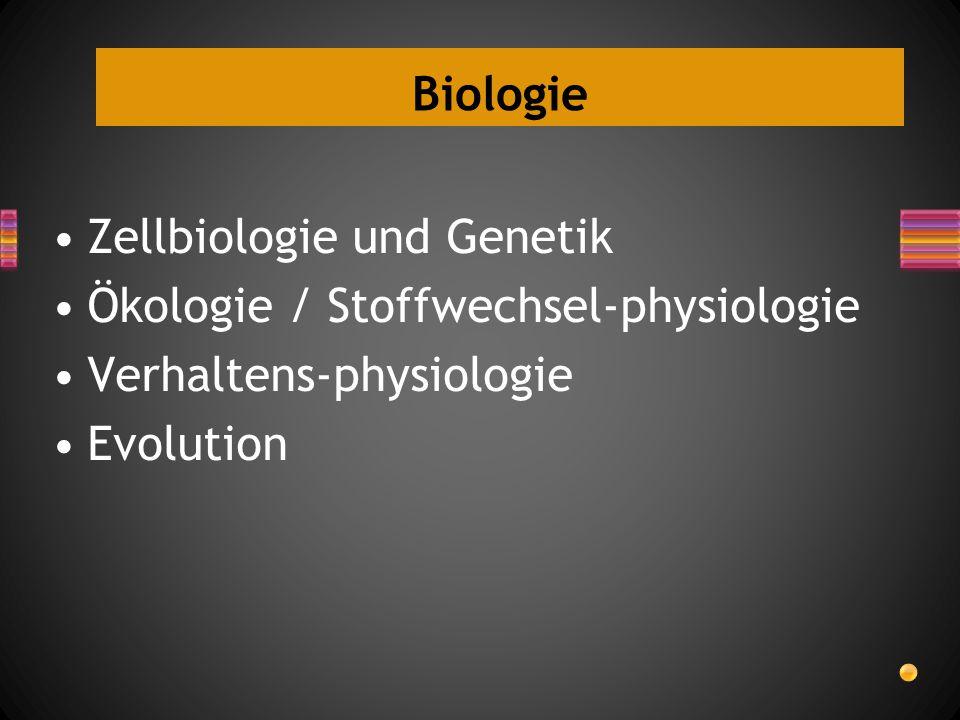 Biologie Zellbiologie und Genetik Ökologie / Stoffwechsel-physiologie Verhaltens-physiologie Evolution
