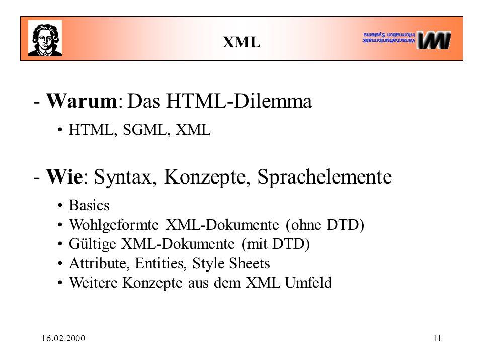 16.02.200011 XML - Warum: Das HTML-Dilemma HTML, SGML, XML - Wie: Syntax, Konzepte, Sprachelemente Basics Wohlgeformte XML-Dokumente (ohne DTD) Gültige XML-Dokumente (mit DTD) Attribute, Entities, Style Sheets Weitere Konzepte aus dem XML Umfeld