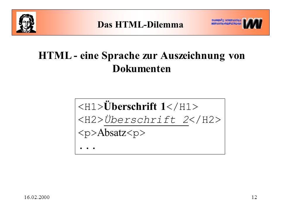 16.02.200012 Das HTML-Dilemma HTML - eine Sprache zur Auszeichnung von Dokumenten Überschrift 1 Überschrift 2 Absatz...