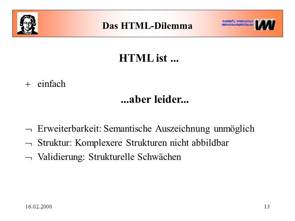 16.02.200013 Das HTML-Dilemma HTML ist...  einfach...aber leider...  Erweiterbarkeit: Semantische Auszeichnung unmöglich  Struktur: Komplexere Stru