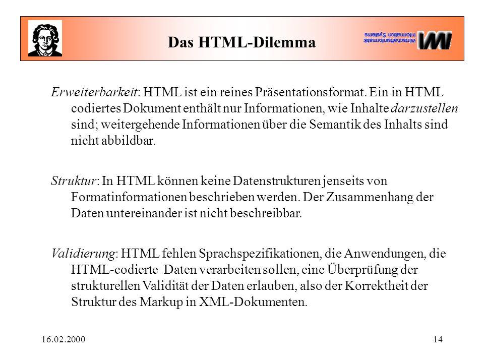 16.02.200014 Das HTML-Dilemma Erweiterbarkeit: HTML ist ein reines Präsentationsformat. Ein in HTML codiertes Dokument enthält nur Informationen, wie