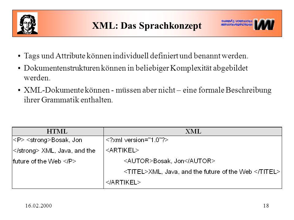 16.02.200018 XML: Das Sprachkonzept Tags und Attribute können individuell definiert und benannt werden. Dokumentenstrukturen können in beliebiger Komp