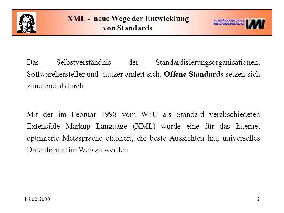 16.02.20002 XML - neue Wege der Entwicklung von Standards Das Selbstverständnis der Standardisierungsorganisationen, Softwarehersteller und -nutzer ändert sich.