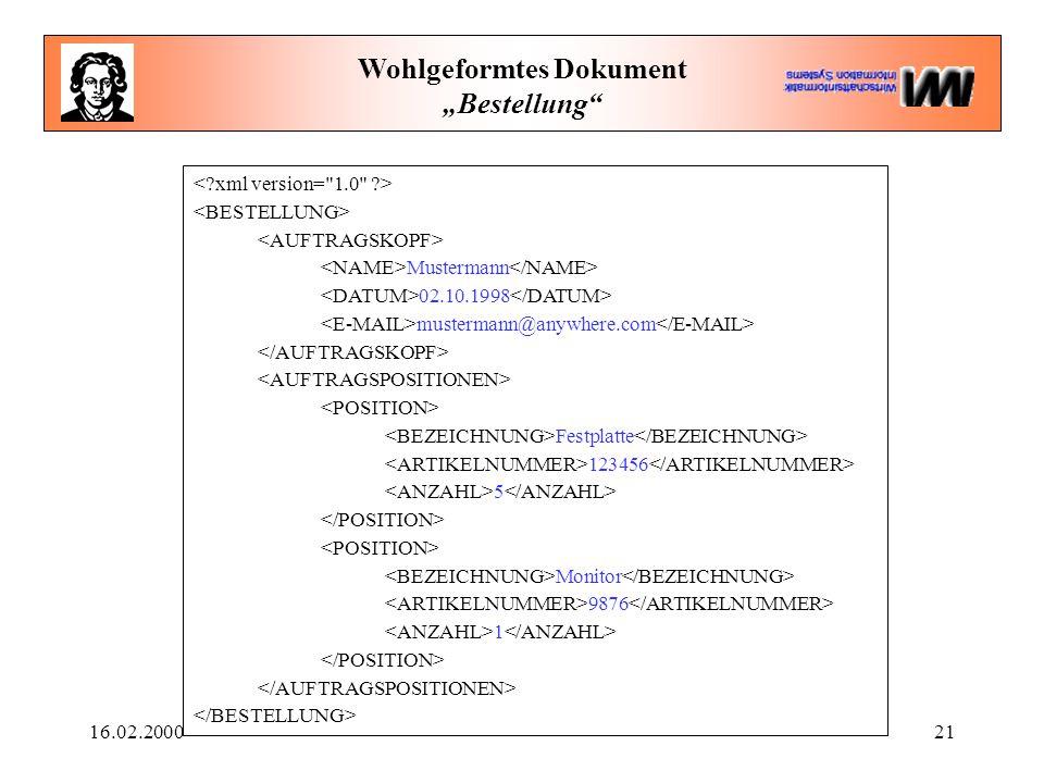 """16.02.200021 Wohlgeformtes Dokument """"Bestellung"""" Mustermann 02.10.1998 mustermann@anywhere.com Festplatte 123456 5 Monitor 9876 1"""
