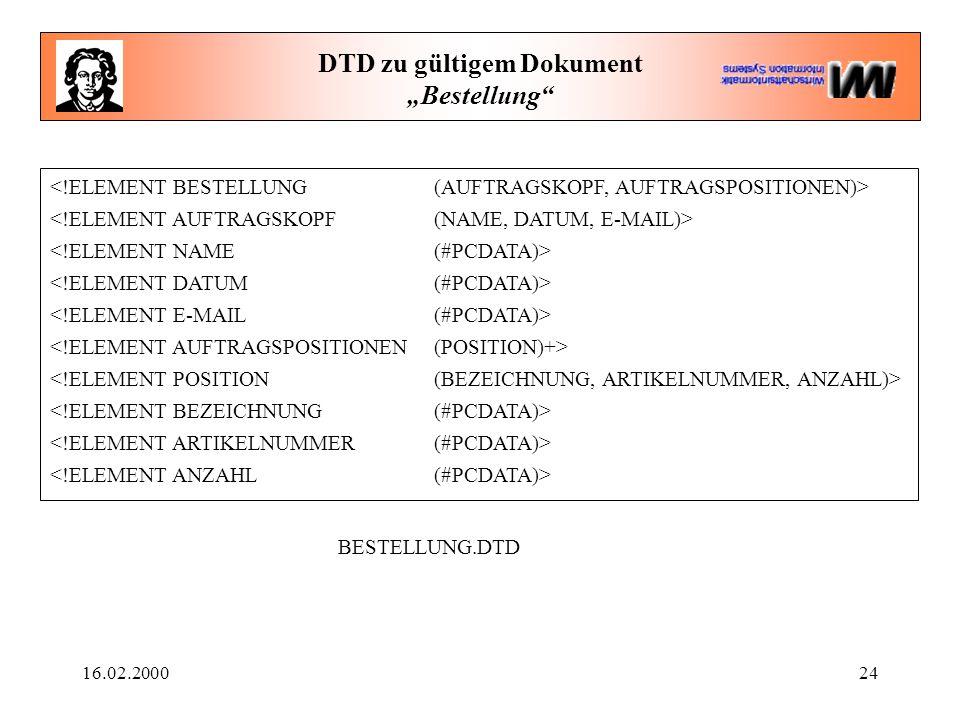 """16.02.200024 DTD zu gültigem Dokument """"Bestellung"""" BESTELLUNG.DTD"""