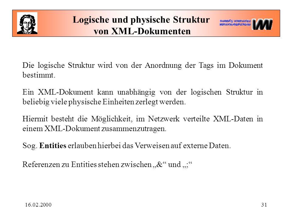 16.02.200031 Logische und physische Struktur von XML-Dokumenten Die logische Struktur wird von der Anordnung der Tags im Dokument bestimmt. Ein XML-Do