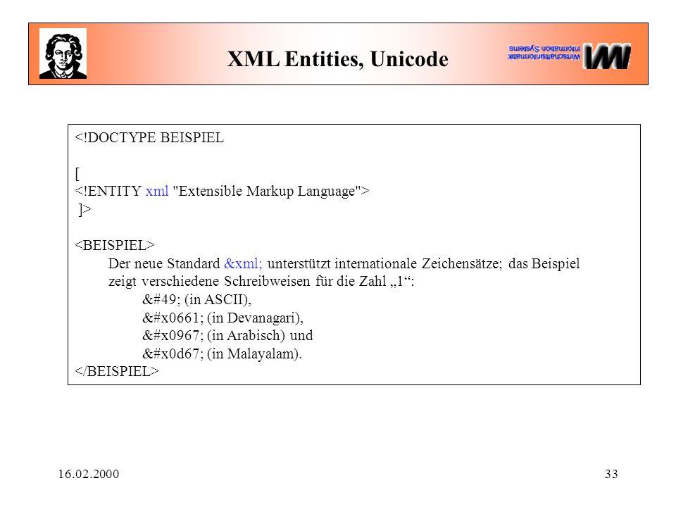 """16.02.200033 XML Entities, Unicode <!DOCTYPE BEISPIEL [ ]> Der neue Standard &xml; unterstützt internationale Zeichensätze; das Beispiel zeigt verschiedene Schreibweisen für die Zahl """"1 : 1 (in ASCII), ١ (in Devanagari), १ (in Arabisch) und ൧ (in Malayalam)."""
