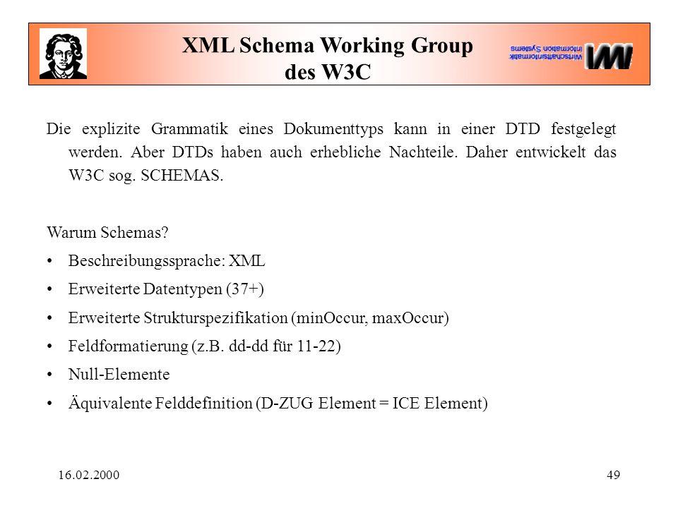 16.02.200049 XML Schema Working Group des W3C Die explizite Grammatik eines Dokumenttyps kann in einer DTD festgelegt werden. Aber DTDs haben auch erh