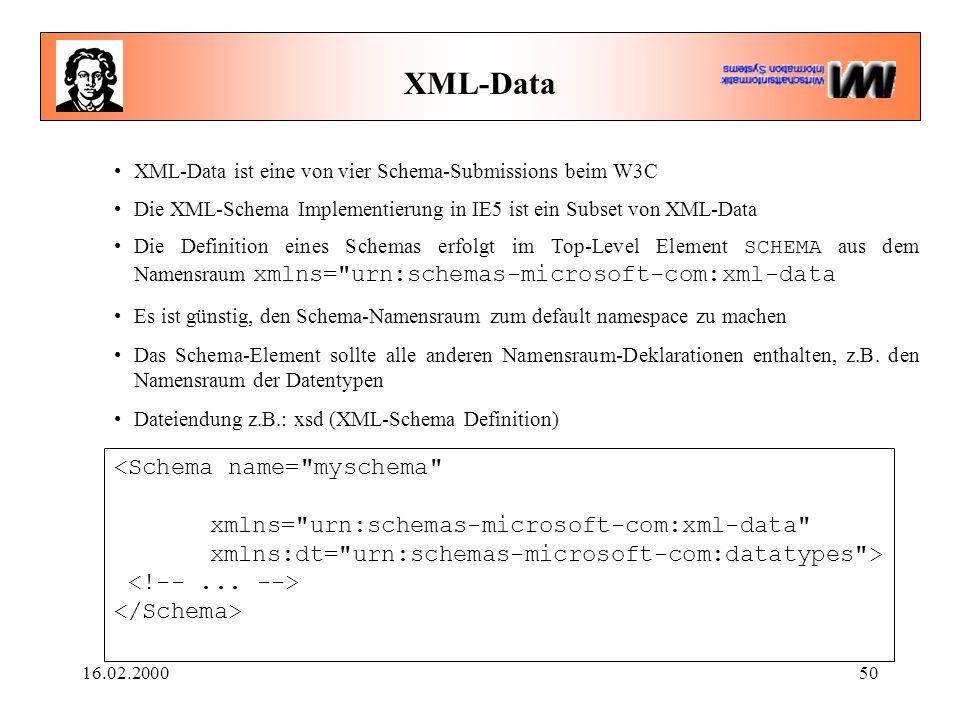 16.02.200050 XML-Data XML-Data ist eine von vier Schema-Submissions beim W3C Die XML-Schema Implementierung in IE5 ist ein Subset von XML-Data Die Definition eines Schemas erfolgt im Top-Level Element SCHEMA aus dem Namensraum xmlns= urn:schemas-microsoft-com:xml-data Es ist günstig, den Schema-Namensraum zum default namespace zu machen Das Schema-Element sollte alle anderen Namensraum-Deklarationen enthalten, z.B.