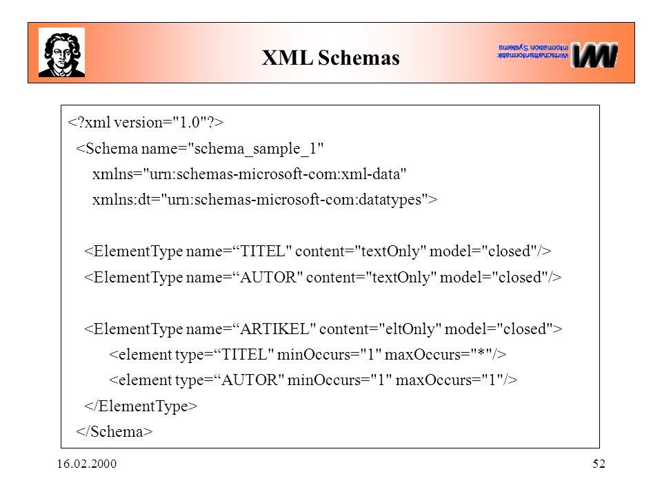 16.02.200052 XML Schemas <Schema name= schema_sample_1 xmlns= urn:schemas-microsoft-com:xml-data xmlns:dt= urn:schemas-microsoft-com:datatypes >