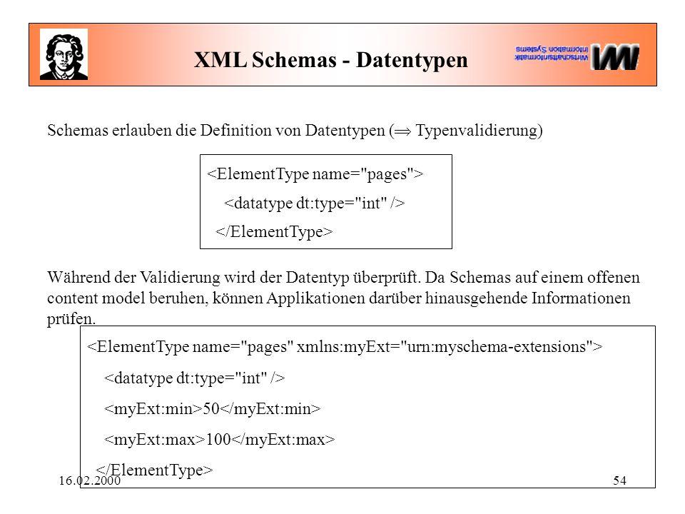 16.02.200054 XML Schemas - Datentypen Schemas erlauben die Definition von Datentypen (  Typenvalidierung) Während der Validierung wird der Datentyp ü