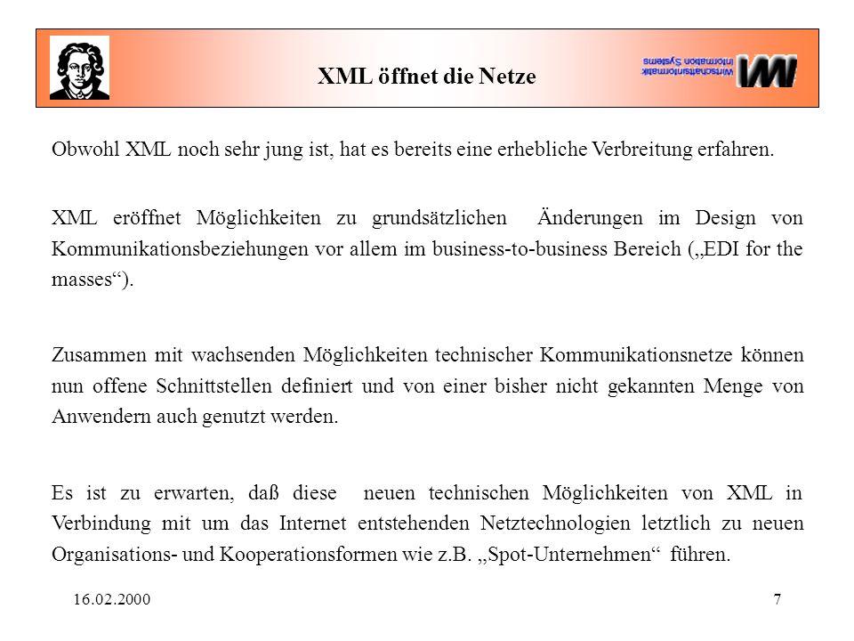 16.02.20007 XML öffnet die Netze Obwohl XML noch sehr jung ist, hat es bereits eine erhebliche Verbreitung erfahren. XML eröffnet Möglichkeiten zu gru