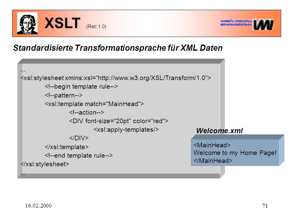16.02.200071 XSLT (Rec 1.0)...... Standardisierte Transformationsprache für XML Daten Welcome to my Home Page! Welcome.xml