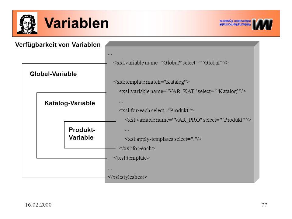 16.02.200077............ Global-VariableKatalog-Variable Produkt- Variable Verfügbarkeit von Variablen Variablen