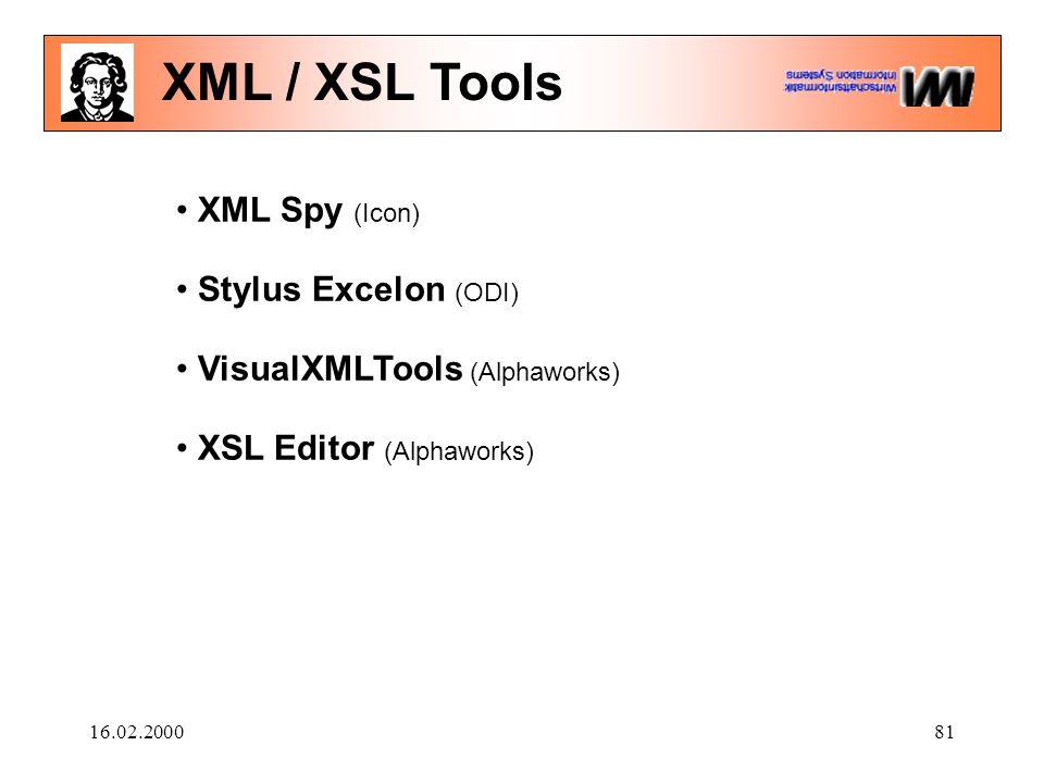 16.02.200081 XML / XSL Tools XML Spy (Icon) Stylus Excelon (ODI) VisualXMLTools (Alphaworks) XSL Editor (Alphaworks)
