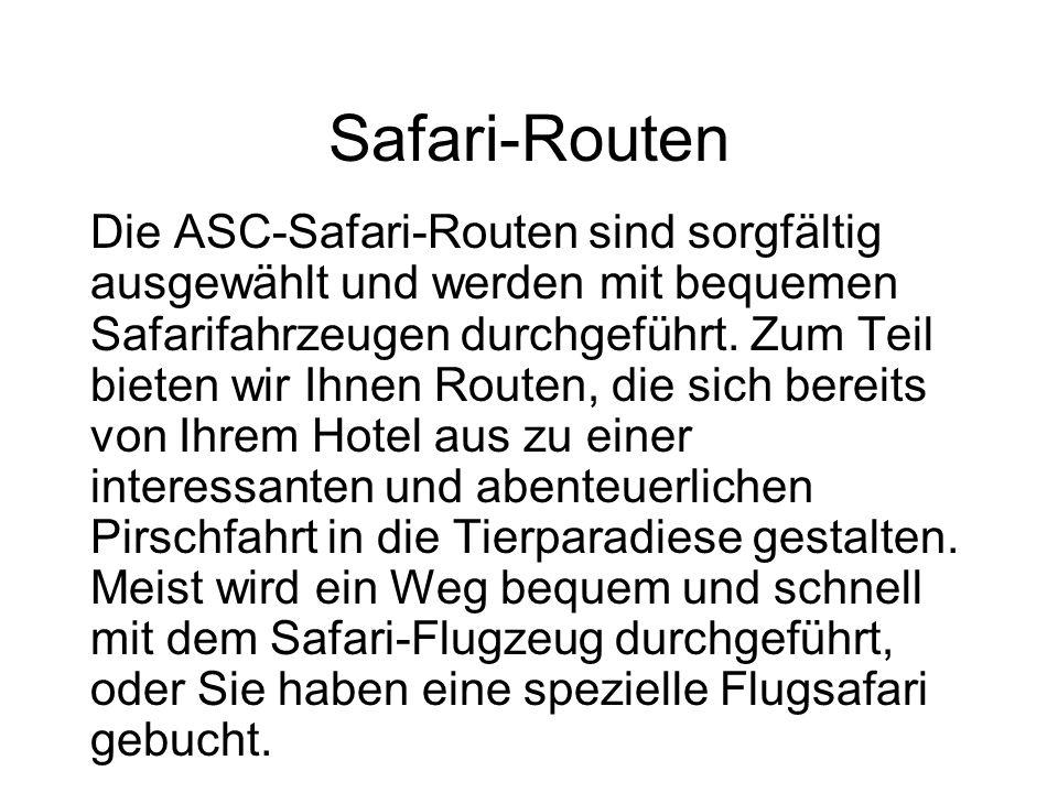 Safari-Routen Die ASC-Safari-Routen sind sorgfältig ausgewählt und werden mit bequemen Safarifahrzeugen durchgeführt.