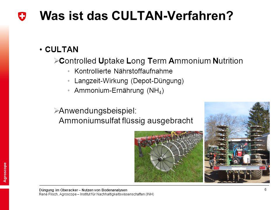 6 Düngung im Oberacker – Nutzen von Bodenanalysen René Flisch, Agroscope – Institut für Nachhaltigkeitswissenschaften (INH) Was ist das CULTAN-Verfahren.