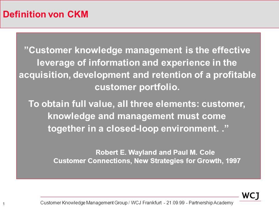2 Customer Knowledge Management Group / WCJ Frankfurt - 21.09.99 - Partnership Academy Typische Customer Knowledge Management Aufgaben Erschließung von Bestkunden-Strategien und Akquisitionsmodellen inkl.