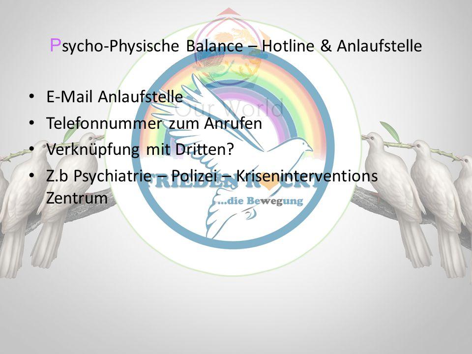 P sycho-Physische Balance – Hotline & Anlaufstelle E-Mail Anlaufstelle Telefonnummer zum Anrufen Verknüpfung mit Dritten? Z.b Psychiatrie – Polizei –