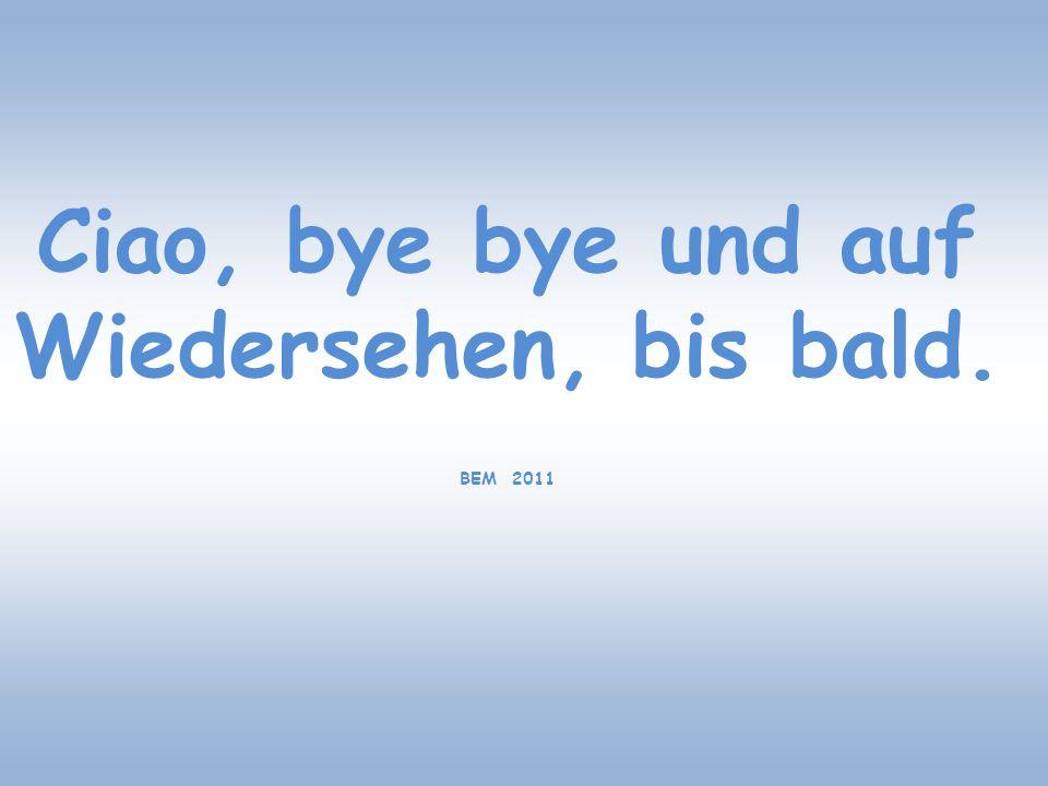 Ciao, bye bye und auf Wiedersehen, bis bald. BEM 2011