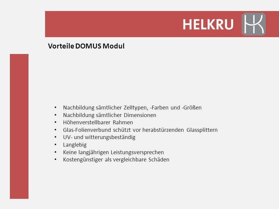 Vorteile DOMUS Modul Nachbildung sämtlicher Zelltypen, -Farben und -Größen Nachbildung sämtlicher Dimensionen Höhenverstellbarer Rahmen Glas-Folienver