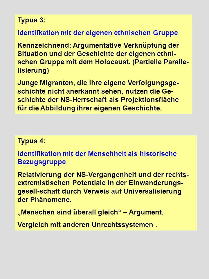 Typus 3: Identifkation mit der eigenen ethnischen Gruppe Kennzeichnend: Argumentative Verknüpfung der Situation und der Geschichte der eigenen ethni-