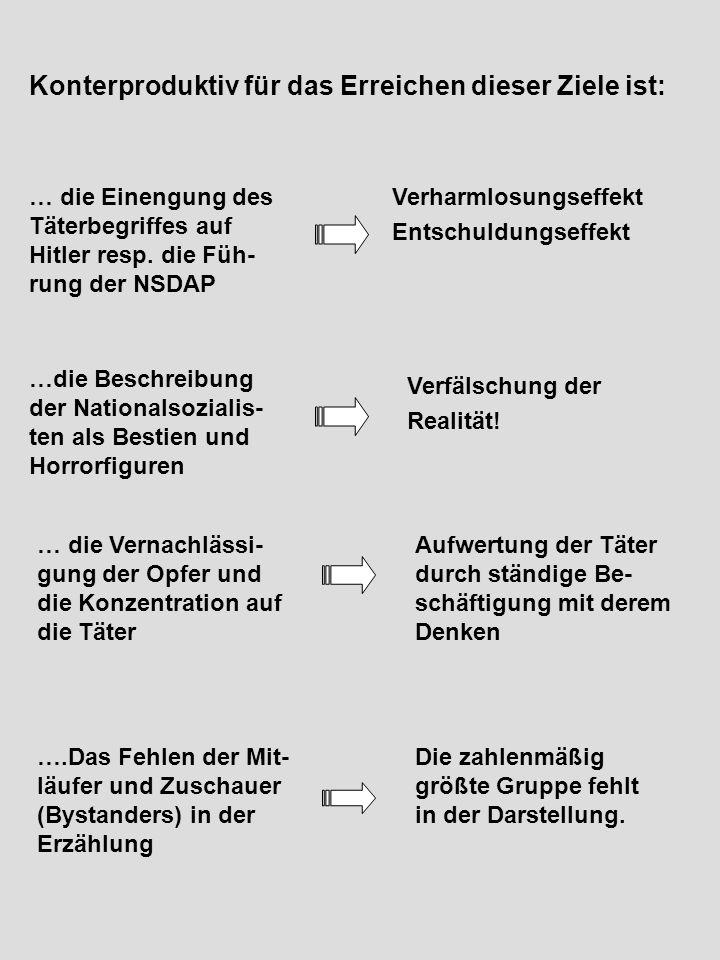 … die Einengung des Täterbegriffes auf Hitler resp. die Füh- rung der NSDAP Verharmlosungseffekt Entschuldungseffekt …die Beschreibung der Nationalsoz