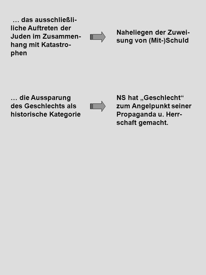 """Naheliegen der Zuwei- sung von (Mit-)Schuld … das ausschließli- liche Auftreten der Juden im Zusammen- hang mit Katastro- phen NS hat """"Geschlecht zum Angelpunkt seiner Propaganda u."""