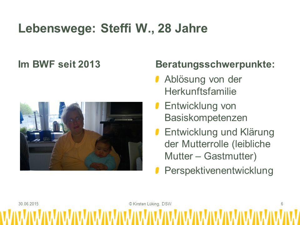 Lebenswege: Steffi W., 28 Jahre Im BWF seit 2013Beratungsschwerpunkte: Ablösung von der Herkunftsfamilie Entwicklung von Basiskompetenzen Entwicklung