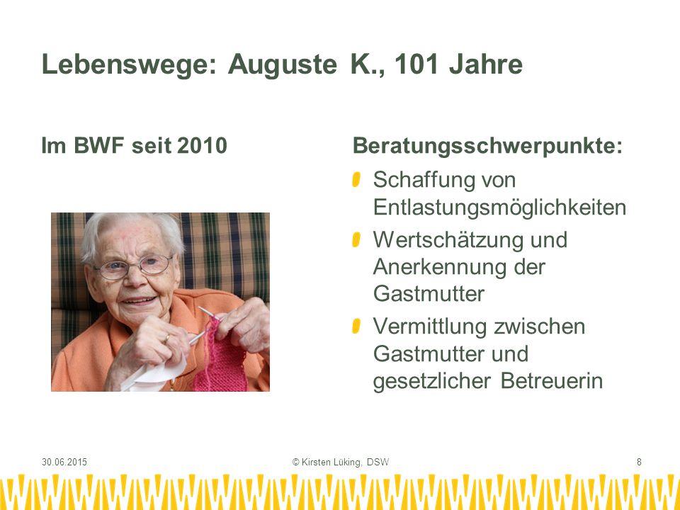 Lebenswege: Heinz-Dieter W., 72 Jahre Im BWF seit 2004Beratungsschwerpunkte: Aufarbeitung früherer Erlebnisse und der Folgen Thematisierung von Altern, Krankheit und Sterben Vermittlung von Zusatzangeboten (Tagesstruktur, Pflege) 30.06.2015© Kirsten Lüking, DSW9