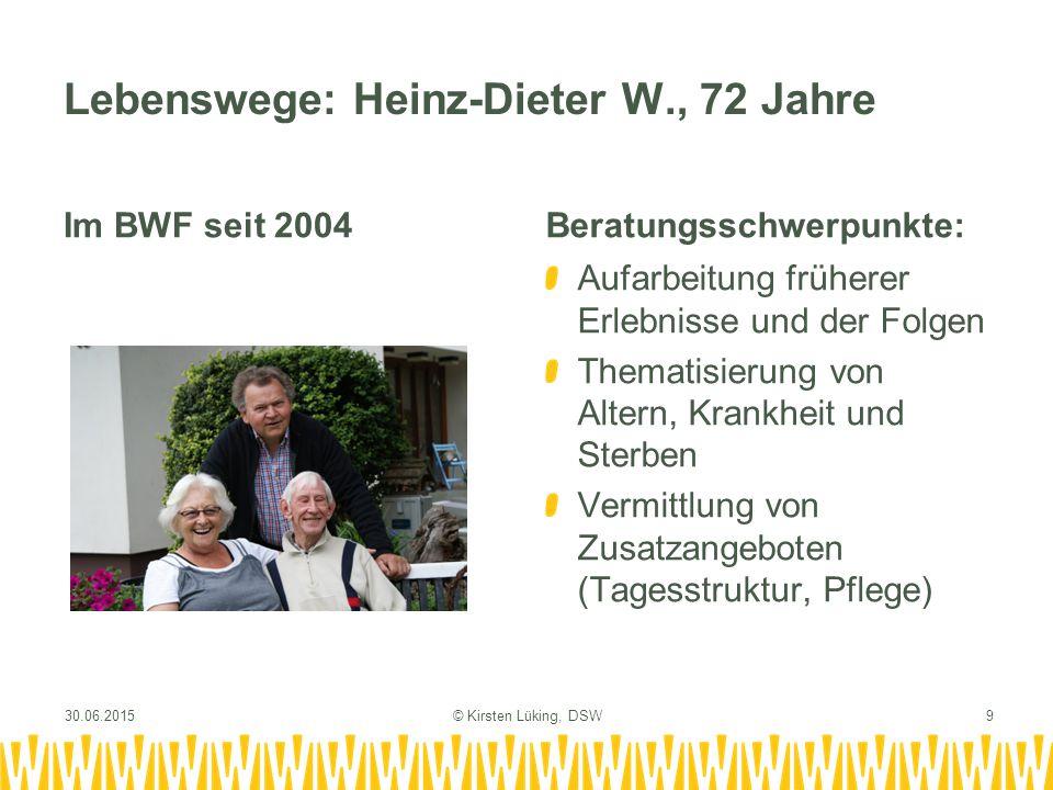 Lebenswege: Heinz-Dieter W., 72 Jahre Im BWF seit 2004Beratungsschwerpunkte: Aufarbeitung früherer Erlebnisse und der Folgen Thematisierung von Altern