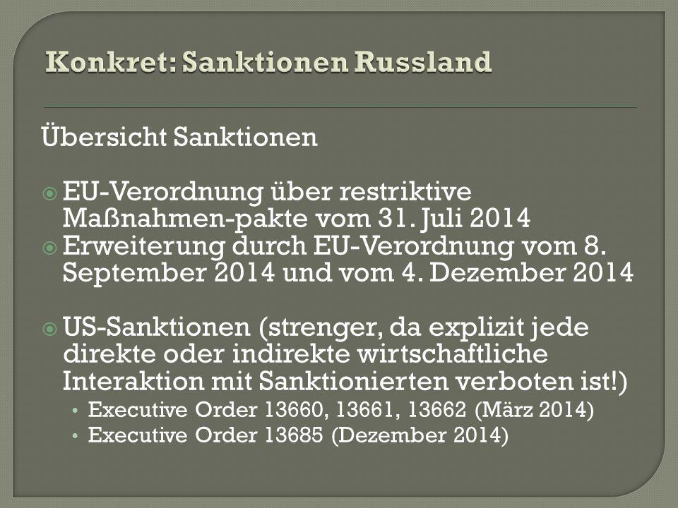 Übersicht Sanktionen  EU-Verordnung über restriktive Maßnahmen-pakte vom 31.