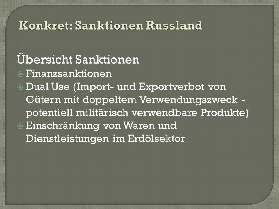Übersicht Sanktionen  Finanzsanktionen  Dual Use (Import- und Exportverbot von Gütern mit doppeltem Verwendungszweck - potentiell militärisch verwendbare Produkte)  Einschränkung von Waren und Dienstleistungen im Erdölsektor