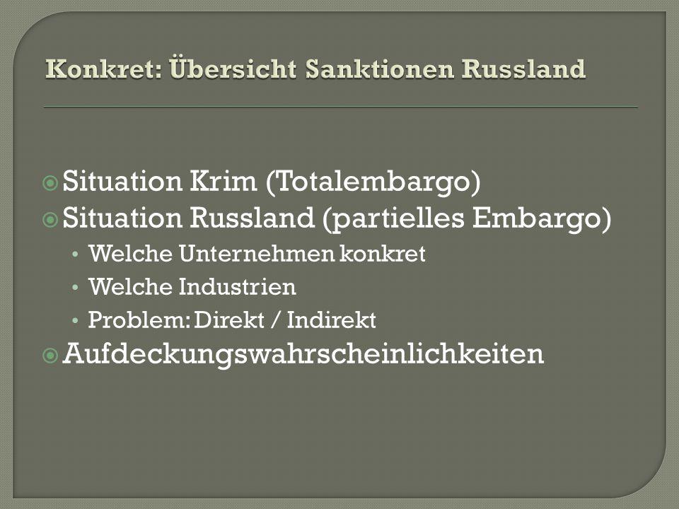  Situation Krim (Totalembargo)  Situation Russland (partielles Embargo) Welche Unternehmen konkret Welche Industrien Problem: Direkt / Indirekt  Aufdeckungswahrscheinlichkeiten