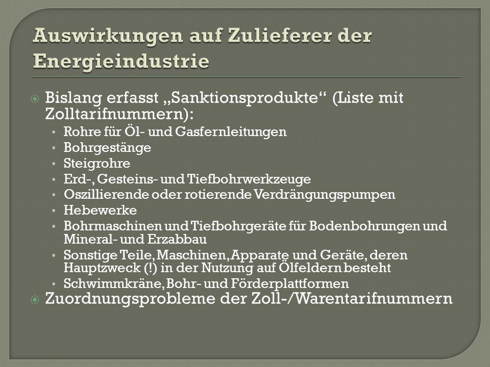 """ Bislang erfasst """"Sanktionsprodukte (Liste mit Zolltarifnummern): Rohre für Öl- und Gasfernleitungen Bohrgestänge Steigrohre Erd-, Gesteins- und Tiefbohrwerkzeuge Oszillierende oder rotierende Verdrängungspumpen Hebewerke Bohrmaschinen und Tiefbohrgeräte für Bodenbohrungen und Mineral- und Erzabbau Sonstige Teile, Maschinen, Apparate und Geräte, deren Hauptzweck (!) in der Nutzung auf Ölfeldern besteht Schwimmkräne, Bohr- und Förderplattformen  Zuordnungsprobleme der Zoll-/Warentarifnummern"""