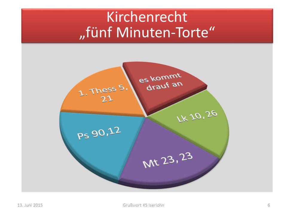 "13. Juni 2015Grußwort KS Iserlohn6 Kirchenrecht ""fünf Minuten-Torte"