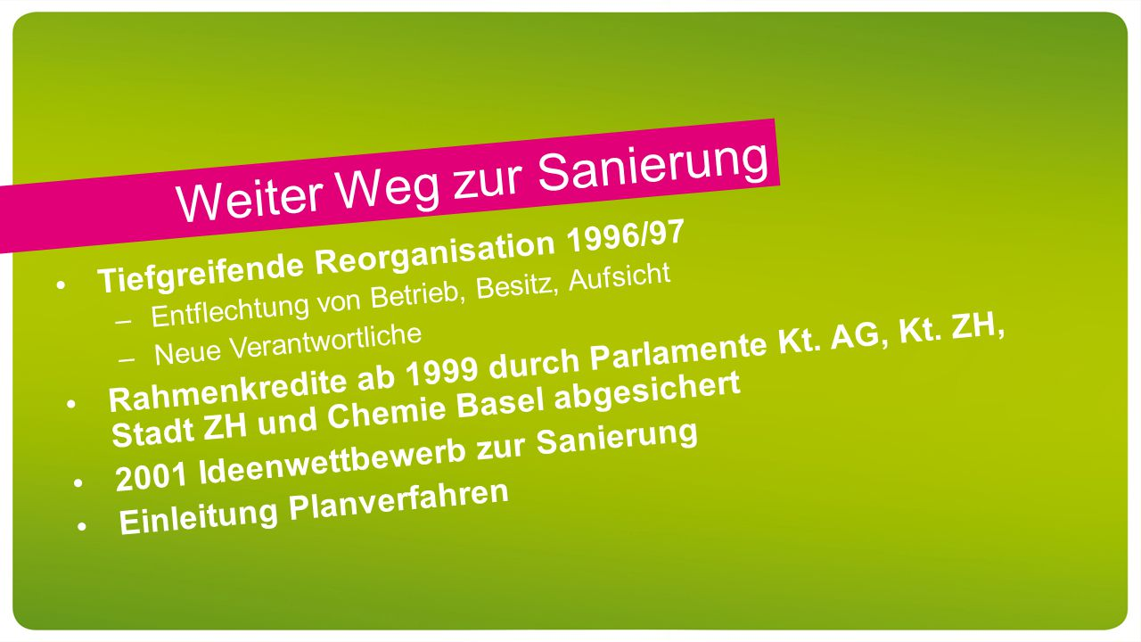 Weiter Weg zur Sanierung Tiefgreifende Reorganisation 1996/97 –Entflechtung von Betrieb, Besitz, Aufsicht –Neue Verantwortliche Rahmenkredite ab 1999 durch Parlamente Kt.