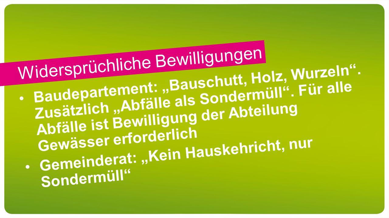 """Widersprüchliche Bewilligungen Baudepartement: """"Bauschutt, Holz, Wurzeln ."""