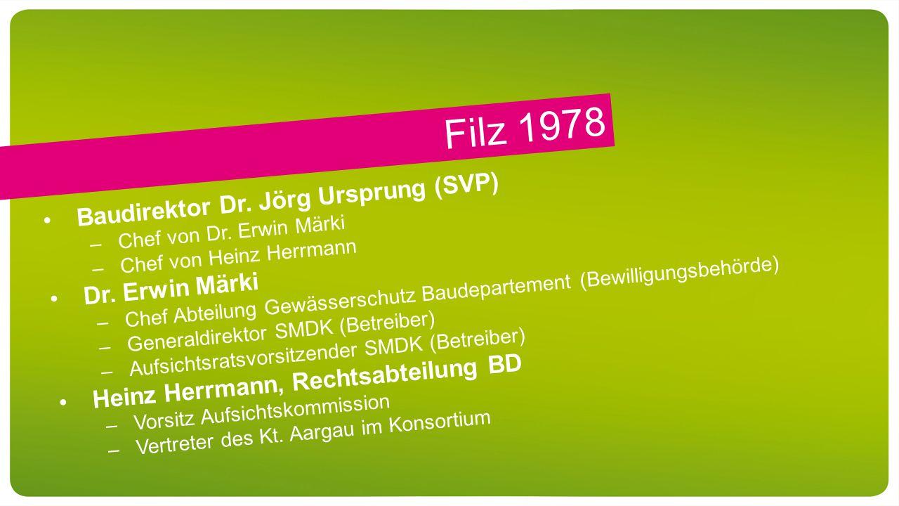 Filz 1978 Baudirektor Dr. Jörg Ursprung (SVP) –Chef von Dr.