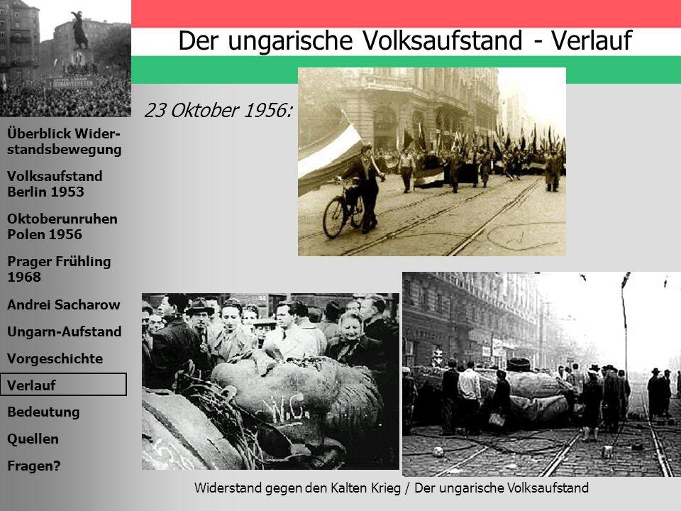 Widerstand gegen den Kalten Krieg / Der ungarische Volksaufstand Überblick Wider- standsbewegung Volksaufstand Berlin 1953 Oktoberunruhen Polen 1956 P