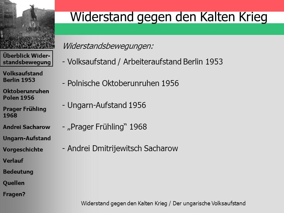 Überblick Wider- standsbewegung Volksaufstand Berlin 1953 Oktoberunruhen Polen 1956 Prager Frühling 1968 Andrei Sacharow Ungarn-Aufstand Vorgeschichte