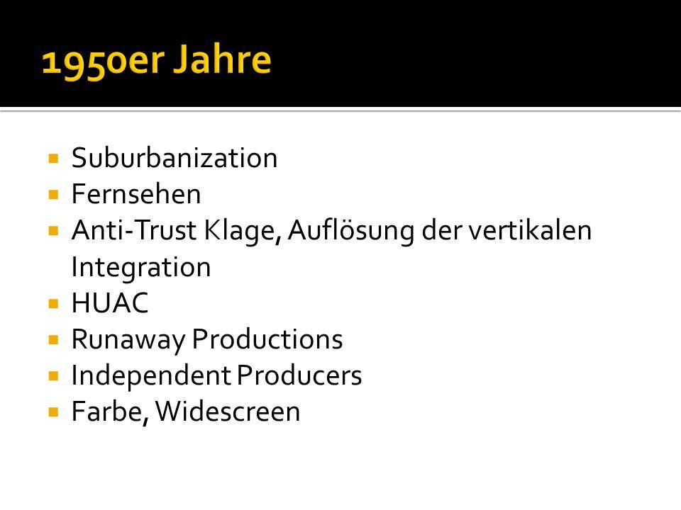  Suburbanization  Fernsehen  Anti-Trust Klage, Auflösung der vertikalen Integration  HUAC  Runaway Productions  Independent Producers  Farbe, Widescreen