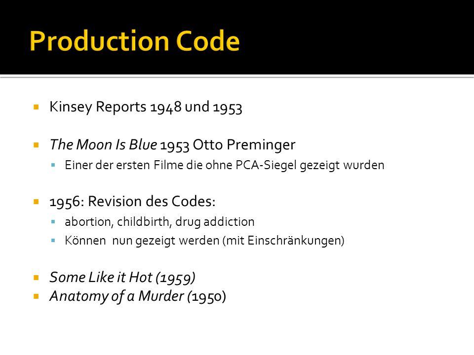  Kinsey Reports 1948 und 1953  The Moon Is Blue 1953 Otto Preminger  Einer der ersten Filme die ohne PCA-Siegel gezeigt wurden  1956: Revision des Codes:  abortion, childbirth, drug addiction  Können nun gezeigt werden (mit Einschränkungen)  Some Like it Hot (1959)  Anatomy of a Murder (1950)
