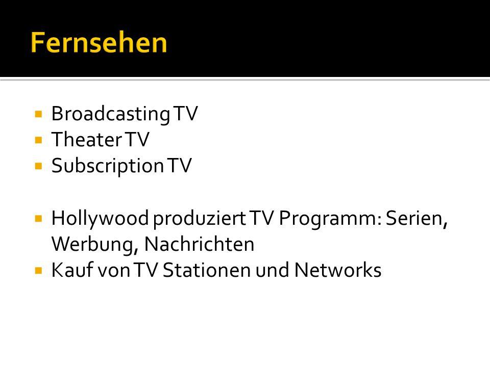  Broadcasting TV  Theater TV  Subscription TV  Hollywood produziert TV Programm: Serien, Werbung, Nachrichten  Kauf von TV Stationen und Networks