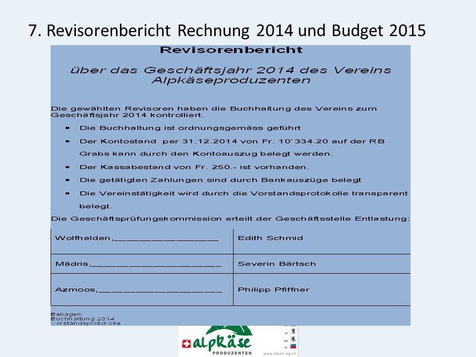 7. Revisorenbericht Rechnung 2014 und Budget 2015