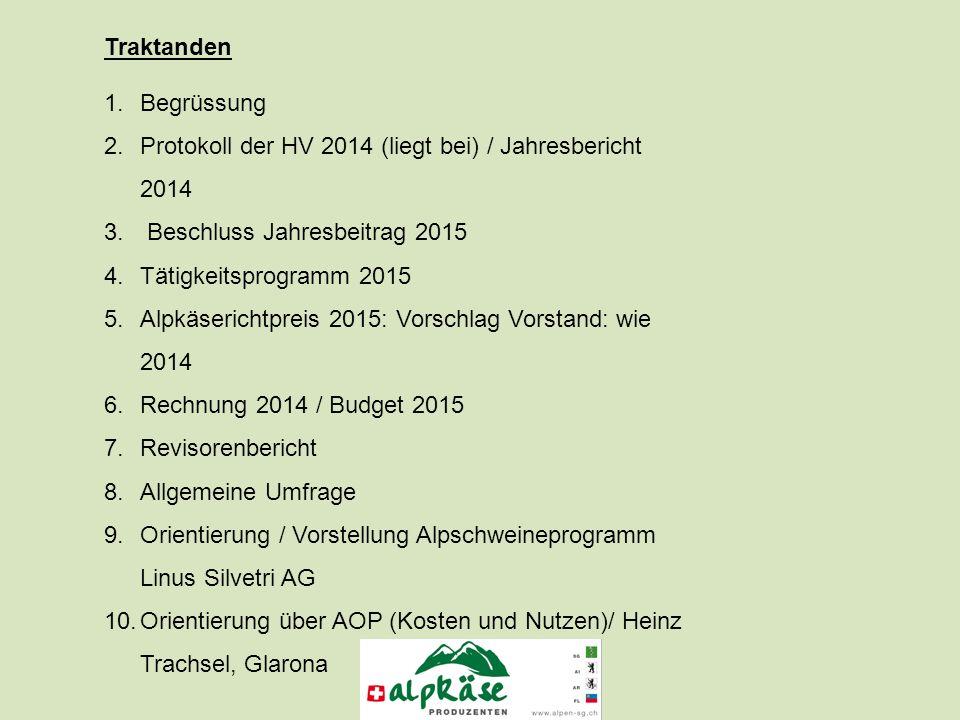 Traktanden 1.Begrüssung 2.Protokoll der HV 2014 (liegt bei) / Jahresbericht 2014 3.