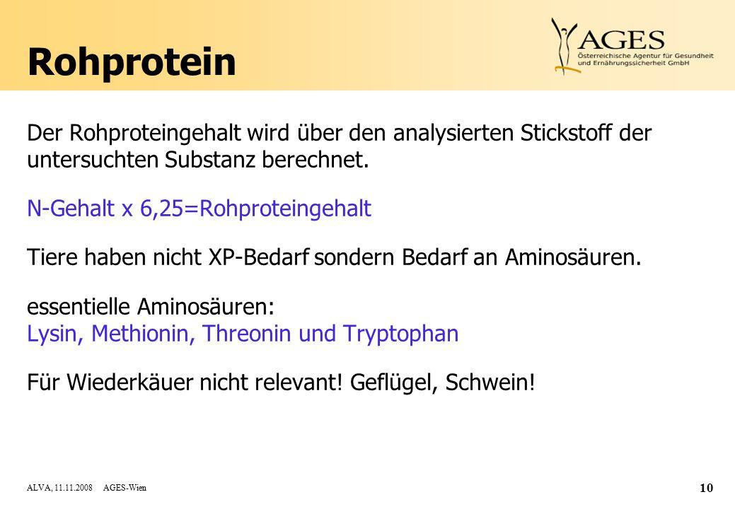 ALVA, 11.11.2008 AGES-Wien 10 Rohprotein Der Rohproteingehalt wird über den analysierten Stickstoff der untersuchten Substanz berechnet.