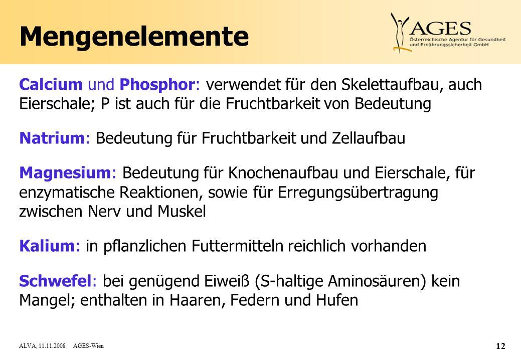 ALVA, 11.11.2008 AGES-Wien 12 Mengenelemente Calcium und Phosphor: verwendet für den Skelettaufbau, auch Eierschale; P ist auch für die Fruchtbarkeit von Bedeutung Natrium: Bedeutung für Fruchtbarkeit und Zellaufbau Magnesium: Bedeutung für Knochenaufbau und Eierschale, für enzymatische Reaktionen, sowie für Erregungsübertragung zwischen Nerv und Muskel Kalium: in pflanzlichen Futtermitteln reichlich vorhanden Schwefel: bei genügend Eiweiß (S-haltige Aminosäuren) kein Mangel; enthalten in Haaren, Federn und Hufen