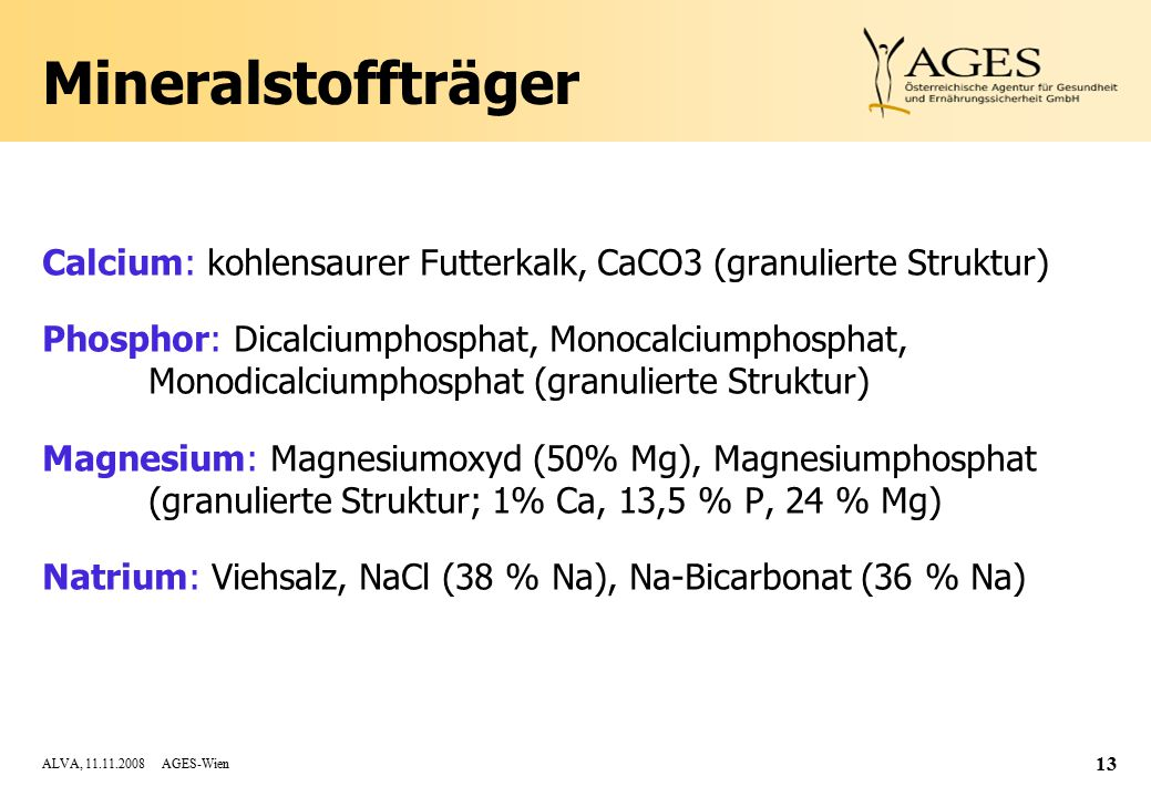 ALVA, 11.11.2008 AGES-Wien 13 Mineralstoffträger Calcium: kohlensaurer Futterkalk, CaCO3 (granulierte Struktur) Phosphor: Dicalciumphosphat, Monocalciumphosphat, Monodicalciumphosphat (granulierte Struktur) Magnesium: Magnesiumoxyd (50% Mg), Magnesiumphosphat (granulierte Struktur; 1% Ca, 13,5 % P, 24 % Mg) Natrium: Viehsalz, NaCl (38 % Na), Na-Bicarbonat (36 % Na)